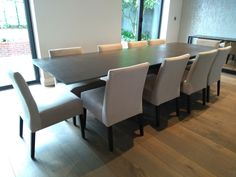 Extendable version of Xenon table in Steel Dark ceramic top and Black legs. On the picture with our dining chairs TANIA in Plush Velvet Platinum and Black legs. Delivered to our client in St. Dining Chairs, Dining Table, Leather Bed, St Albans, Sofa Design, Modern Bedroom, Contemporary Furniture, Sideboard, Tables