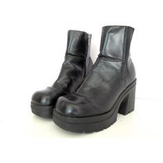 90's Platform ankle boots size - 9 - Vegan ($40) ❤ liked on Polyvore featuring shoes, boots, ankle booties, short boots, chunky platform booties, vegan ankle boots, square-toe boots and chunky booties