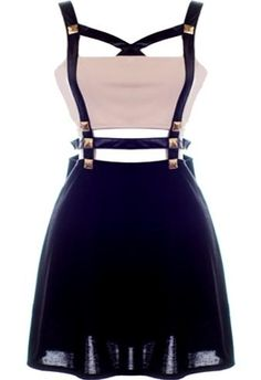 Leather Harness Dress: Features an edgy faux-leather harness design embellished with shiny gold plates, chic cutouts to the front and back, nude bandeau liner at bust, and a lightly gathered skirt to finish.
