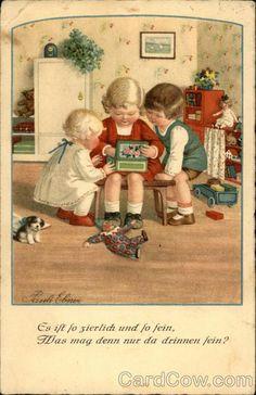 Three Children Looking in Box