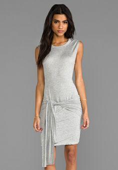 LNA Wrap Dress in Heather Grey - Dresses