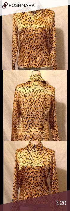 NWOT 🐯Bebe 100% Silk Animal Print Shirt 🐯 🐯 Previously voted 🎉HP🎉 (changed covershot), STELLAR Bebe brand animal print shadings on a silk button-down blouse that can be worn alone, or over a black camisole like a jacket !!!  Absolutely stunning, especially with the black satin pants in this closet.  Pic 4 shows the three-button cuffs.  P/M size.🐯 bebe Tops Button Down Shirts