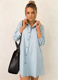 Over You Denim Day Dress in Light Wash
