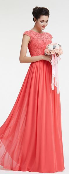 Modest coral bridesmaid dresses with cap sleeves lace bridesmaid dress chiffon evening dresses for wedding