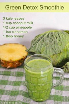 Green detox smoothie 3 Kale Leaves 1 cup coconut milk 1/2 cup pineapple 1 tsp cinnamon 1 tsp honey ... with the milk and honey, I wouldn't call this a detox.. more like a treat. :)