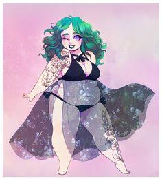 "sergle: ""Goth-friendly beach looks? Witch Drawing, Woman Drawing, Illustration Mignonne, Illustration Girl, Positive Art, Body Positive, Plus Size Art, Fat Art, Cartoon Art Styles"
