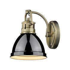 Golden Lighting 3602-BA1-PW-WH Duncan 1 Light 7 inch Pewter Bath Vanity Wall Light in White $89