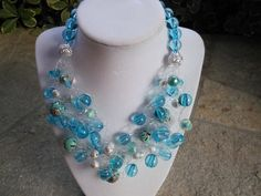 Blue Bubble Super Chunky Crocheted Bib Statement Necklace MOMA FAV So Airy! by BlingBeadedBaubles, $48.00 USD