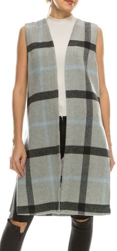 Long Classic Plaid Vest