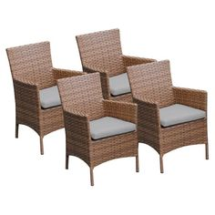 TK Classics Laguna Outdoor Dining Chairs - Set of 4 with 8 Cushion Covers Gray / Wheat - TKC093B-DC-2X-GREY