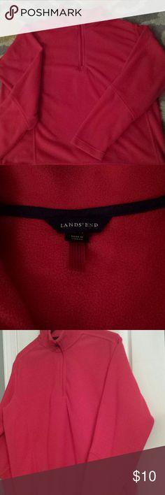 Land's End Fleece Half Zip Pullover Excellent Condition  100% Polyester  Men's Size Large, 42-44 Lands' End Jackets & Coats