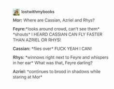 "- A court of mist and fury by Sarah J mass ""Feyre, darling"" gives me excited chills. A Court Of Wings And Ruin, A Court Of Mist And Fury, Book Tv, Book Nerd, Book Memes, Book Quotes, Acotar Funny, Feyre And Rhysand, Captive Prince"