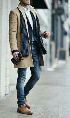 Men's fashion, coat, scarf,
