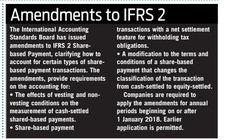 IFRS 2 Amendments effective 1 January 2018