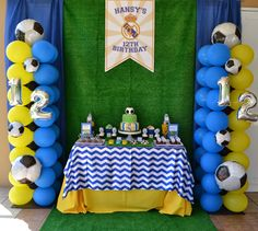 17 best images about fiesta real madrid on party decorations ideas. Soccer Birthday Parties, Soccer Party, Sports Party, Birthday Party Themes, Boy Birthday, Sports Birthday, Real Madrid Soccer, Barbie, Balloons