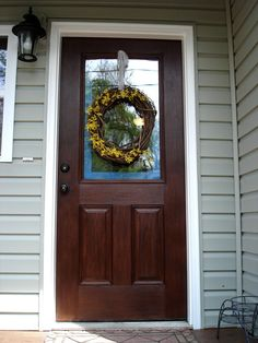 Or, How To Gel Stain An Embossed Fiberglass Door. Remember when I posted about my hopes for a front entrance makeover? I couldn't be more pleased with the results! I am a total gel stain conv… Wood Front Doors, Exterior Front Doors, Painted Front Doors, Front Door Colors, The Doors, Barn Doors, Exterior Paint, Exterior Design, Garage Doors