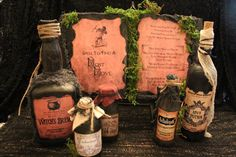 """Halloween Spell Book & Potion Bottle Set, """"Spell To Find A Lost Love"""", Complete Halloween Display, Prop, Decor, Witch's Brew, Grunge, Spooky"""