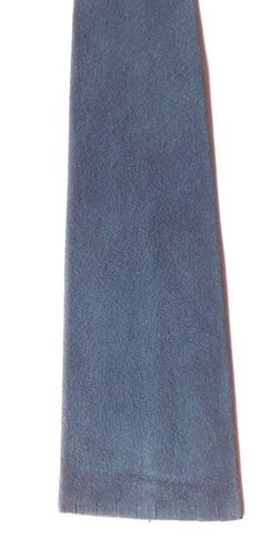 Vintage SUEDE Leather Skinny Neck Tie Teal Blue Colour Blunt Ended FREE P&P #NeckTie