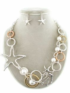 Nautical Layered Starfish Sea Shell Faux Pearl Statement Necklace  Earrings Set