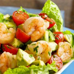 Spread the love         Nutritious Shrimp And Avocado Salad Recipe!   Save Print Ingredients Shrimp and Avocado Salad 12 oz/350 grams cooked shelled shrimp 1 avocado, peeled, and cut into cubes A sprig or parsley or cilantro chopped fine 20 bite sized tomatoes cut into halves Fresh leaf lettuce. Use enough letter to make 2 portions …