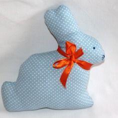 Doudou lapin bleu en coton