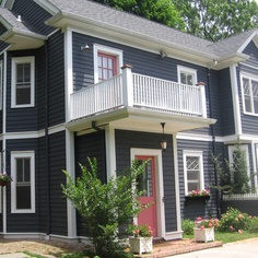 Colonial exterior LOVE THE COLORS! slate gray, white and red or rust accents!