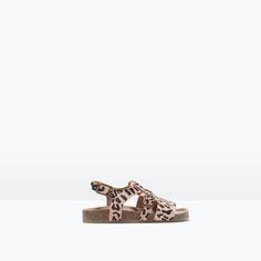 ANIMAL PRINT LEATHER FLAT SANDAL from Zara Baby Girls