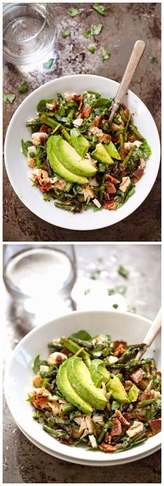 CHICKEN BACON AVOCADO SALAD WITH ROASTED ASPARAGUS - Quick Recipeez Side Recipes, Brunch Recipes, Breakfast Recipes, Bacon Avocado, Avocado Salad, Easy Cooking, Cooking Recipes, Healthy Recipes, Clean Eating