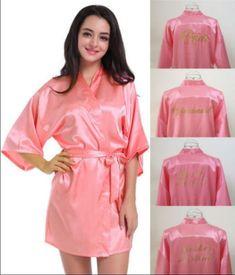 Short Robe Bride Bridesmaid Silk Satin Kimono Dressing Gown Sleepwear  Bathrobe Bridesmaid Silk  2b5482eac