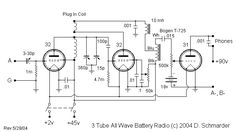Dave's 3 Tube All Wave Receiver, Schematic
