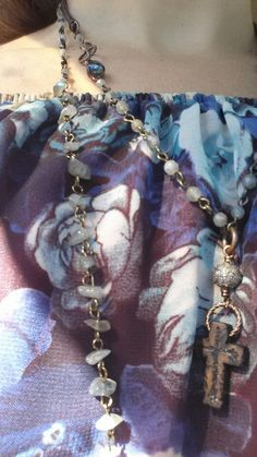 Pave diamond, labradorite,  carved cross.  #airgwa