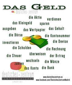 Das Geld Deutsch Wortschatz Grammatik German DAF Vocabulario Alemán German Grammar, German Words, Deutsch A2, Learning Maps, German Resources, Deutsch Language, German Language Learning, Spanish Language, Second Grade Writing