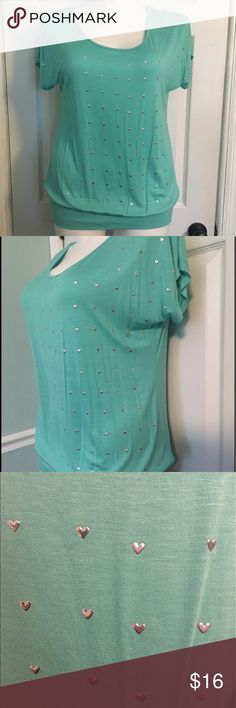 Mint Deb Banded Bottom Top Heart Embellishments Mint Green Banded Bottom Top with Heart Embellishments. New with tags Deb Tops