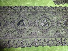 2-yards-VICTORIAN-ANTIQUE-6-034-WIDE-BEAUTIFUL-BLACK-LACE