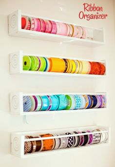 Ribbon organizers for ribbon hoarders - just like me.