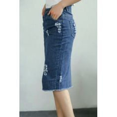   Chic Pocket Design  Broken Hole Women's Denim Skirt For Fashion Lovers ·FREE SHIPPING Join Dresslily: Get YOUR $50 NOW!
