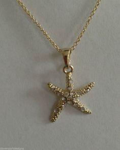 "Starfish Necklace Clear Austrian Crystals 16"" Chain Nickel Lead Free Metal Beach #Handmade #ChainwithStarfishPendant"