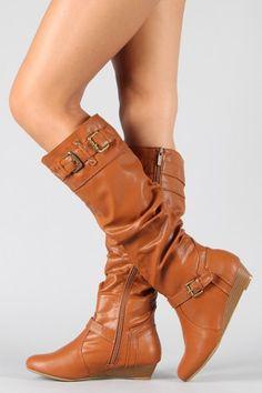Bamboo Tamara-03N Slouchy Knee High Wedge Boot $36