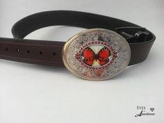 Butterfly Belt Buckle, Orange, Western, womens belt buckle, buckle for belt, Belt not included...
