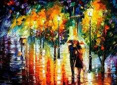 Rainy Date — PALETTE KNIFE Oil Painting On by AfremovArtStudio on Etsy, $319.00