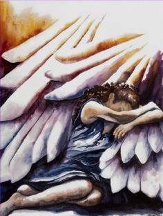 Inspired by Psalms, Watercolor of Woman Taking Refuge in Wings of God, Psalm Christian Art, Christian Paintings, Wings of Angels Christian Paintings, Christian Art, Art Prophétique, Psalm 17, Shadow Of The Almighty, Under The Shadow, Bride Of Christ, Prophetic Art, Biblical Art