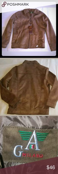 "A G Milano Faux Suede Zippered Jacket New with tags AG Milano mens small brown faux leather suede jacket coat   zip front   2 hand pockets   inside pocket   made in Italy   logo zipper pull   metal charm logo hem    Measures approx:   Chest: 20""   Sleeve: 24""  Milano Jackets & Coats"