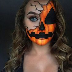 Scary Halloween Make-up, das Sie wissen müssen - . Scary Halloween makeup you need to know Halloween Pumpkin Makeup, Halloween Makeup Clown, Beautiful Halloween Makeup, Scary Halloween Pumpkins, Halloween Makeup Looks, Halloween Halloween, Halloween Costumes, Halloween Tumblr, Creepy Pumpkin