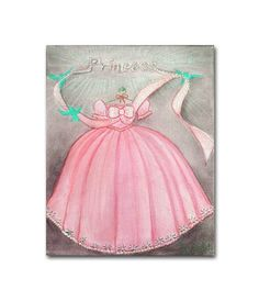 Princess Pink Dress Wall Art for Girls room Decor, Girl Nursery Decor, Princess Nursery, Kids Art, Nursery Decor, Nursery Art, Kids Decor