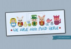 Mini People - We're all mad here cross stitch by cloudsfactory on DeviantArt