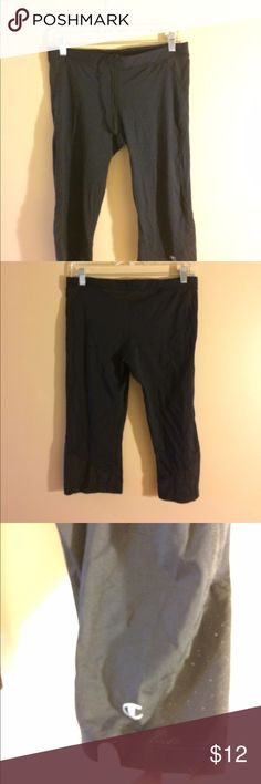 Champion workout capris. Size large Black capris with mesh on back of waist and by knees. Draw string. I have 2 of these for sale listed separately. Smoke free home. Bundle to save. Champion Pants Capris