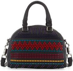 Christian Louboutin 'Panettone' Small Spiked Chevron Satchel Bag