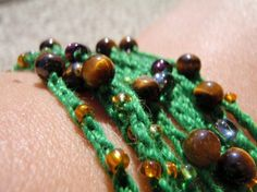 Green Beaded Chain with Glass and Semi Precious Stone Beads by Spasojevich, $15.00