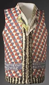 This pro-revolutionary waistcoat, riddled with slogans, was worn from 1789-1794, and was common among men. The waistcoat (sleeveless) allowed for men to cool down from the heat while not looking undressed. During the revolution, the French colors were always worn, so this red, white, and blue waistcoat was popular for the time.