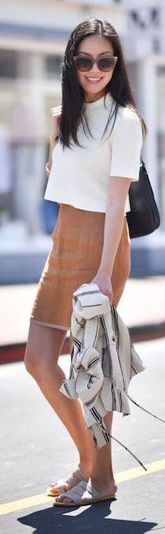 Love it! | Camel Mini Skirt